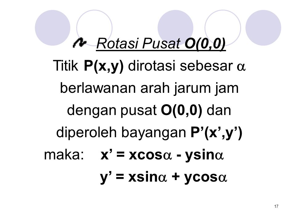 Titik P(x,y) dirotasi sebesar  berlawanan arah jarum jam
