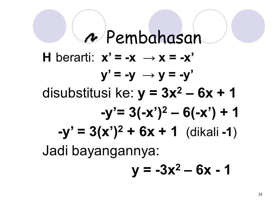disubstitusi ke: y = 3x2 – 6x + 1 -y'= 3(-x')2 – 6(-x') + 1