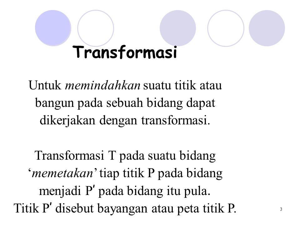 Transformasi Untuk memindahkan suatu titik atau
