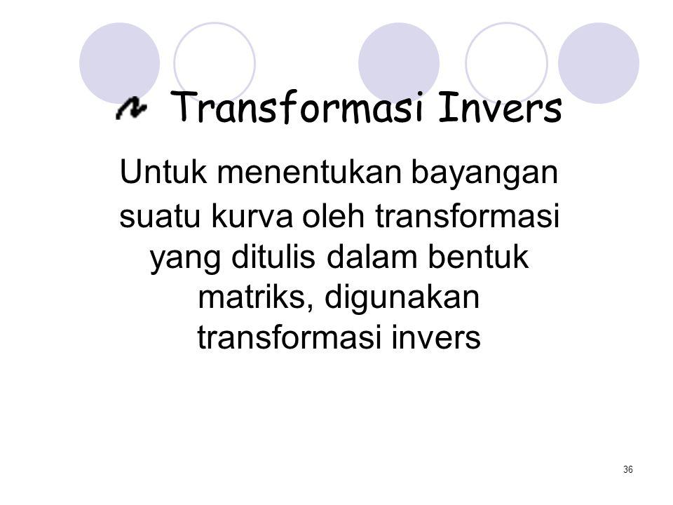 Untuk menentukan bayangan suatu kurva oleh transformasi