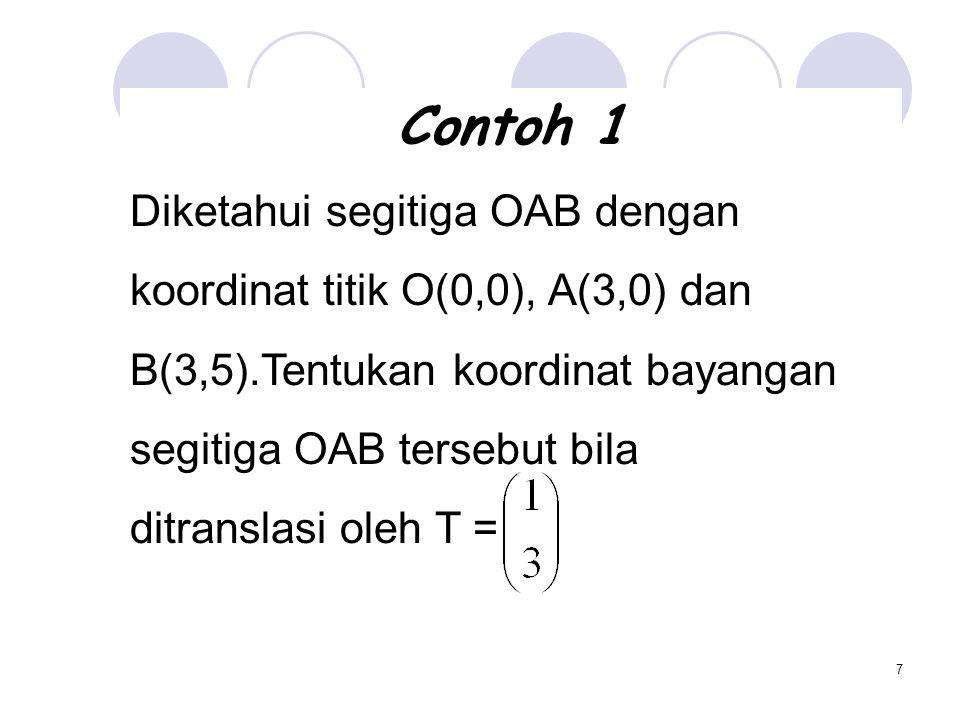 Contoh 1 Diketahui segitiga OAB dengan