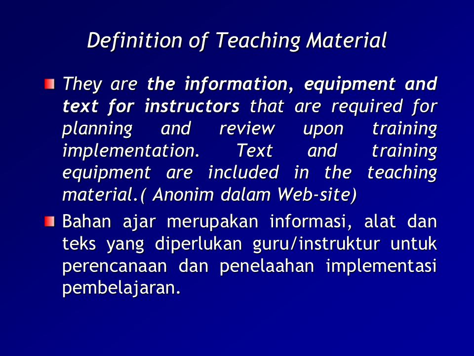 Definition of Teaching Material