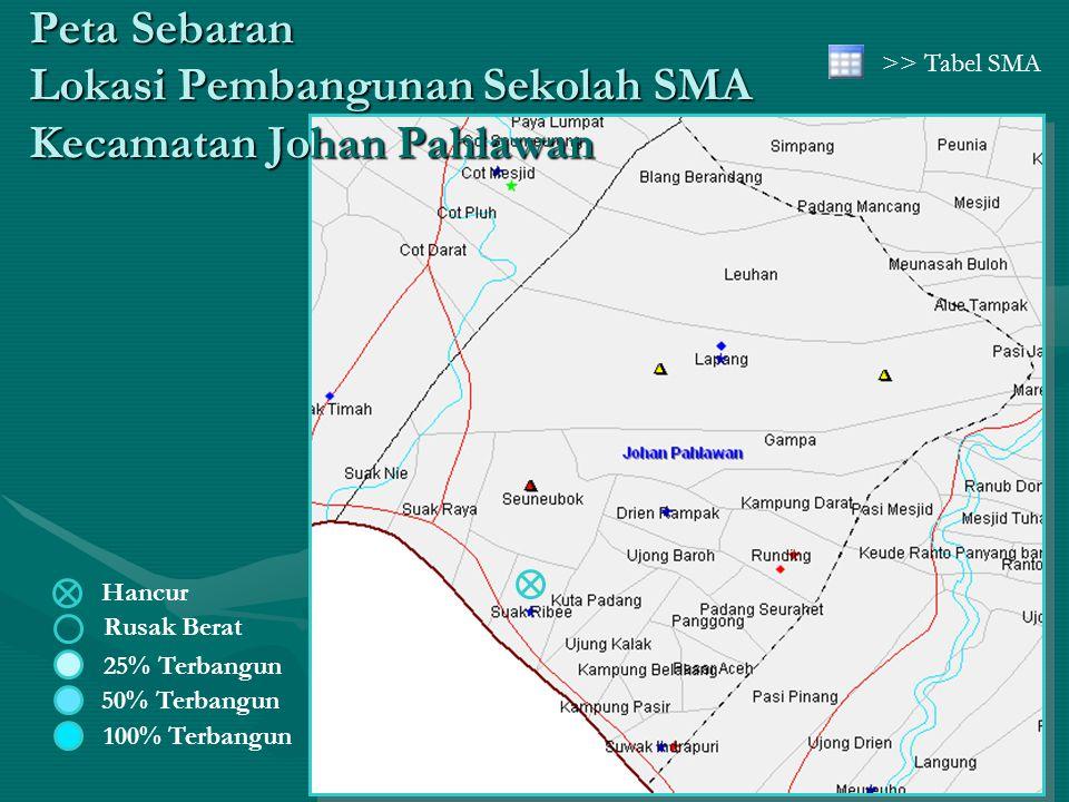 Peta Sebaran Lokasi Pembangunan Sekolah SMA Kecamatan Johan Pahlawan