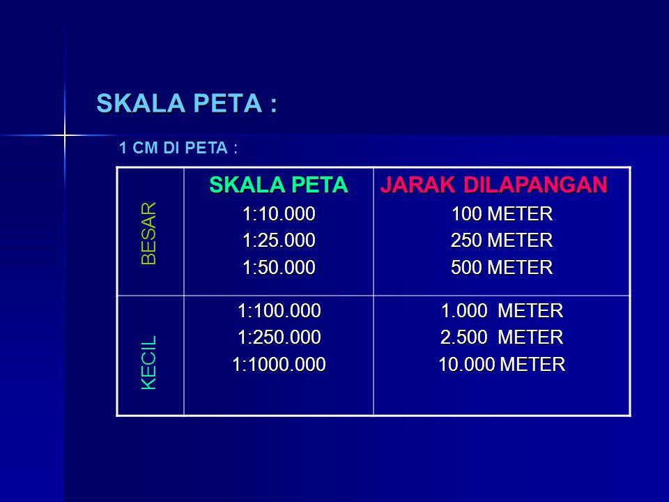 SKALA PETA : SKALA PETA JARAK DILAPANGAN 1:10.000 1:25.000 1:50.000