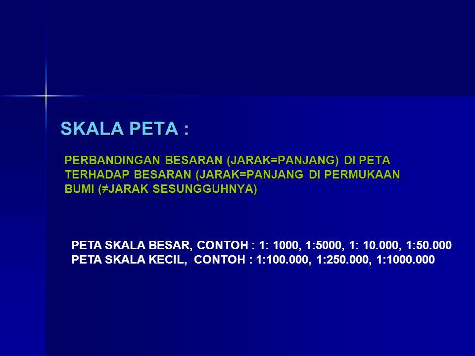 SKALA PETA : PERBANDINGAN BESARAN (JARAK=PANJANG) DI PETA TERHADAP BESARAN (JARAK=PANJANG DI PERMUKAAN BUMI (≠JARAK SESUNGGUHNYA)