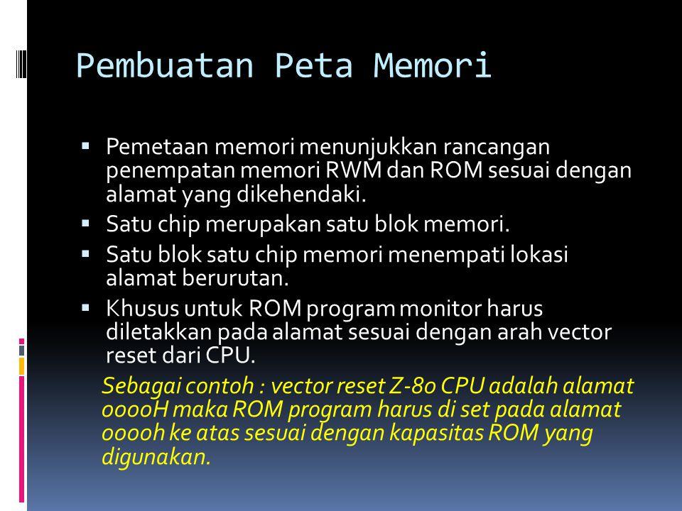 Pembuatan Peta Memori Pemetaan memori menunjukkan rancangan penempatan memori RWM dan ROM sesuai dengan alamat yang dikehendaki.
