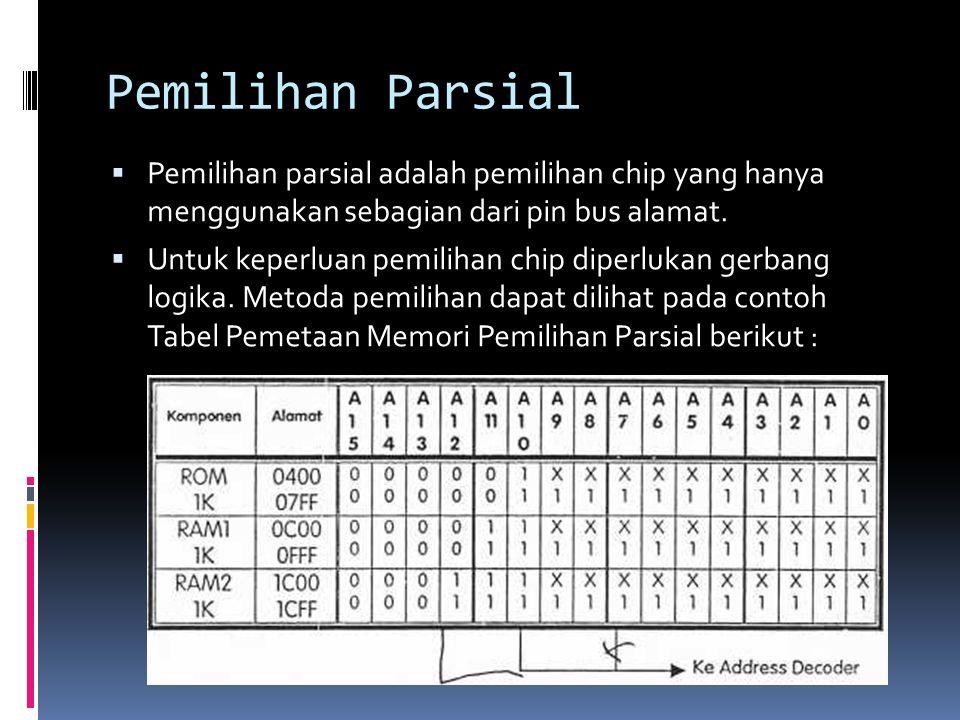 Pemilihan Parsial Pemilihan parsial adalah pemilihan chip yang hanya menggunakan sebagian dari pin bus alamat.