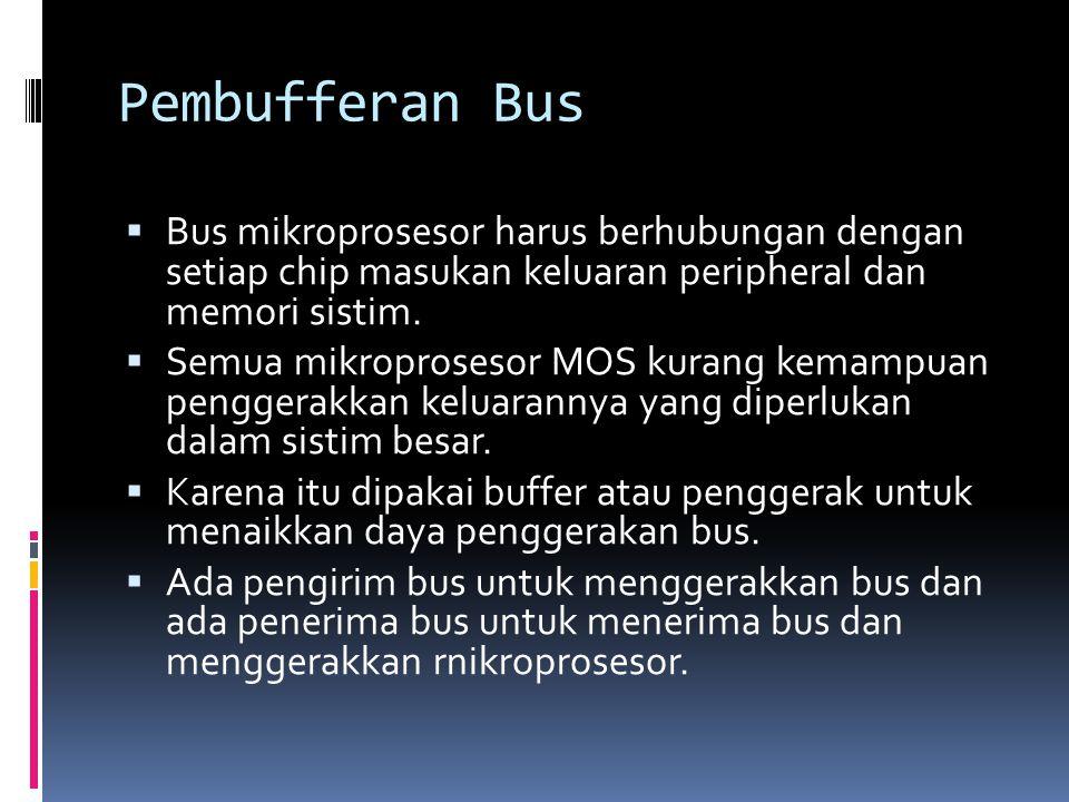 Pembufferan Bus Bus mikroprosesor harus berhubungan dengan setiap chip masukan keluaran peripheral dan memori sistim.