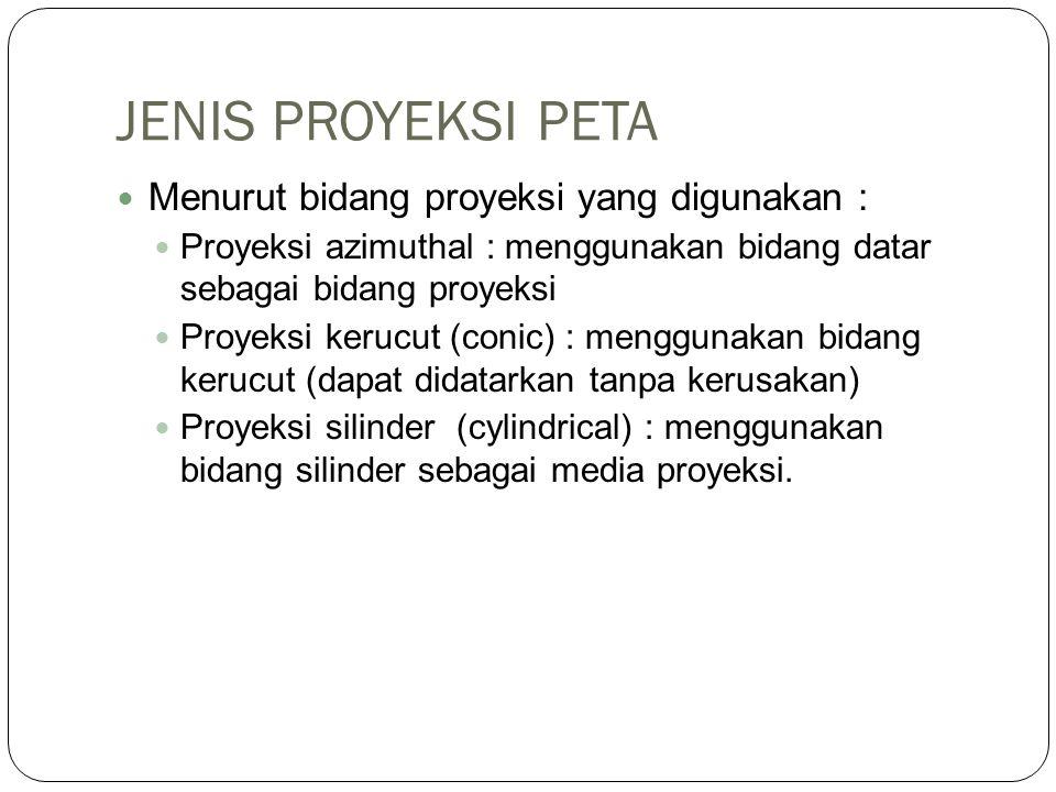 JENIS PROYEKSI PETA Menurut bidang proyeksi yang digunakan :