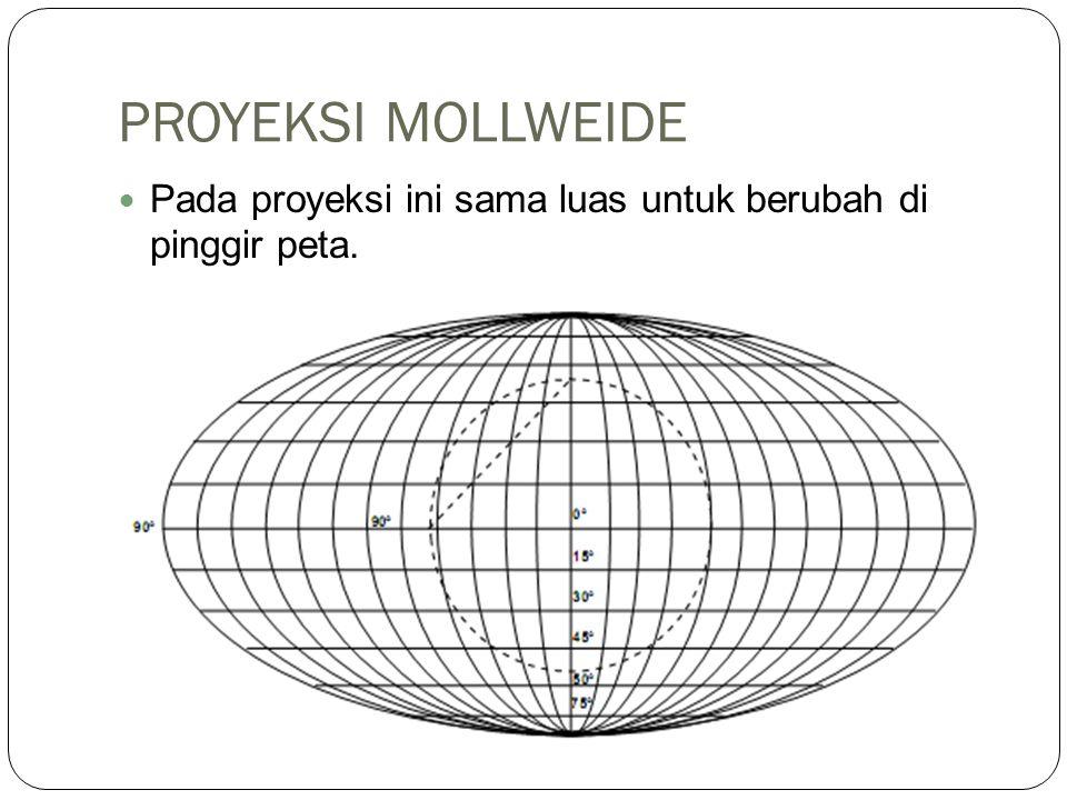 PROYEKSI MOLLWEIDE Pada proyeksi ini sama luas untuk berubah di pinggir peta.