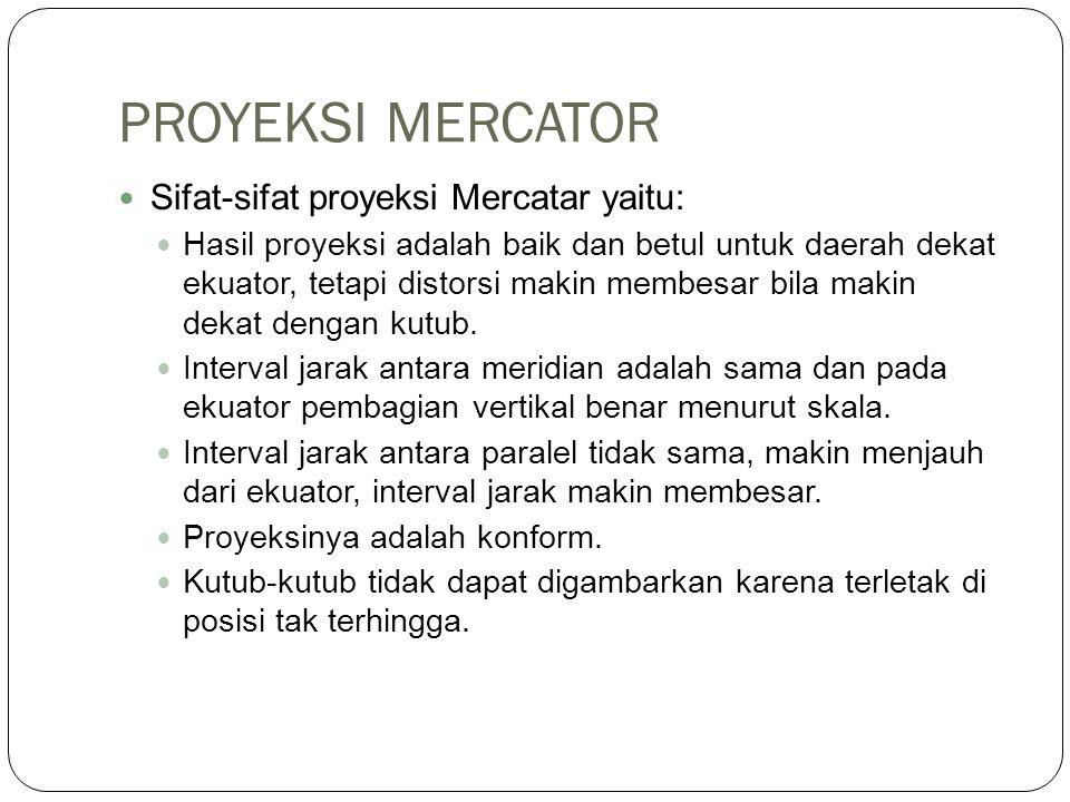 PROYEKSI MERCATOR Sifat-sifat proyeksi Mercatar yaitu: