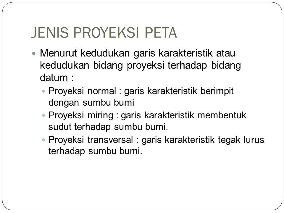 JENIS PROYEKSI PETA Menurut kedudukan garis karakteristik atau kedudukan bidang proyeksi terhadap bidang datum :