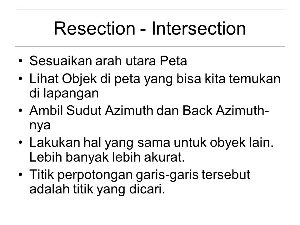 Resection - Intersection