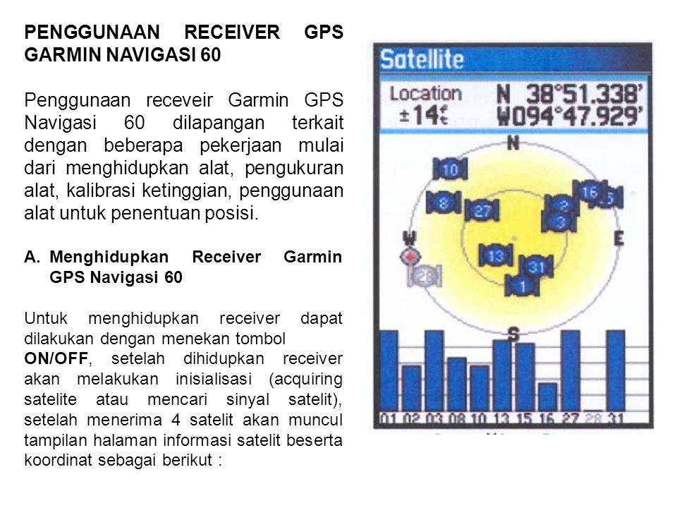 PENGGUNAAN RECEIVER GPS GARMIN NAVIGASI 60