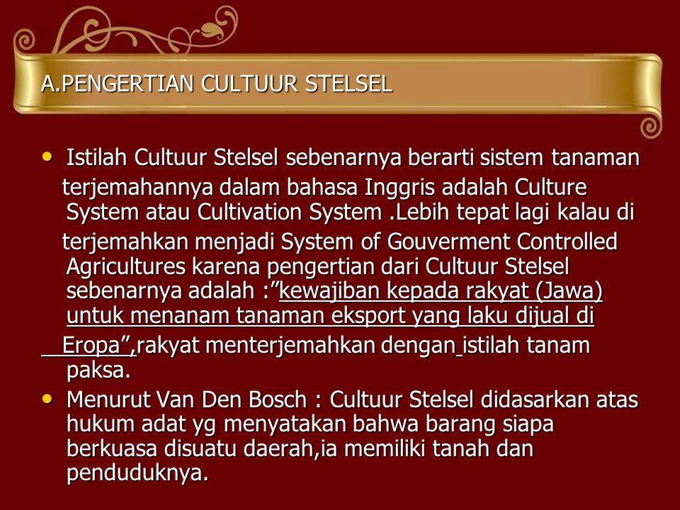 A.PENGERTIAN CULTUUR STELSEL