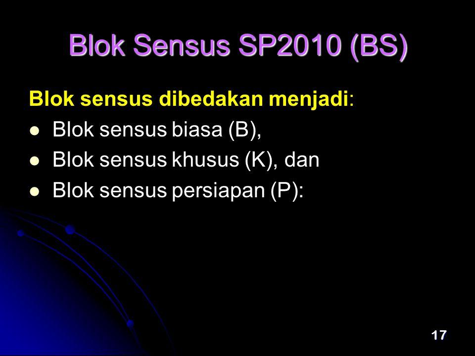 Blok Sensus SP2010 (BS) Blok sensus dibedakan menjadi: