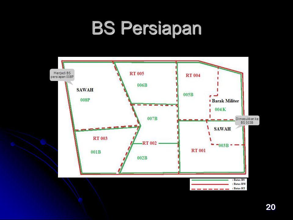 BS Persiapan Menjadi BS persiapan 008P Dimasukkan ke BS 003B