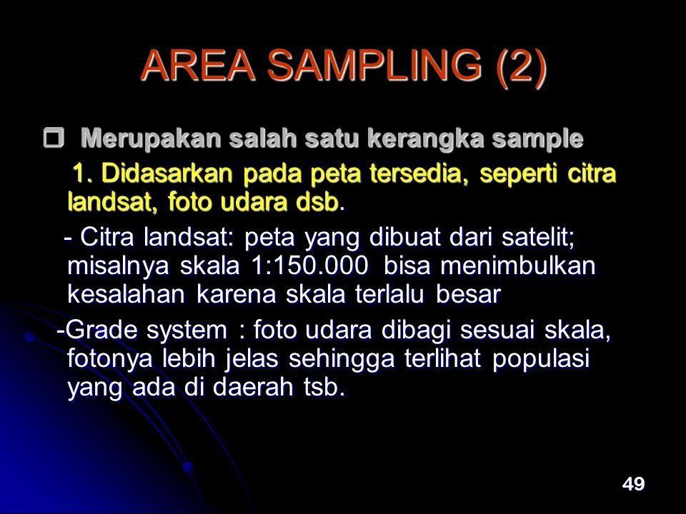 AREA SAMPLING (2)  Merupakan salah satu kerangka sample