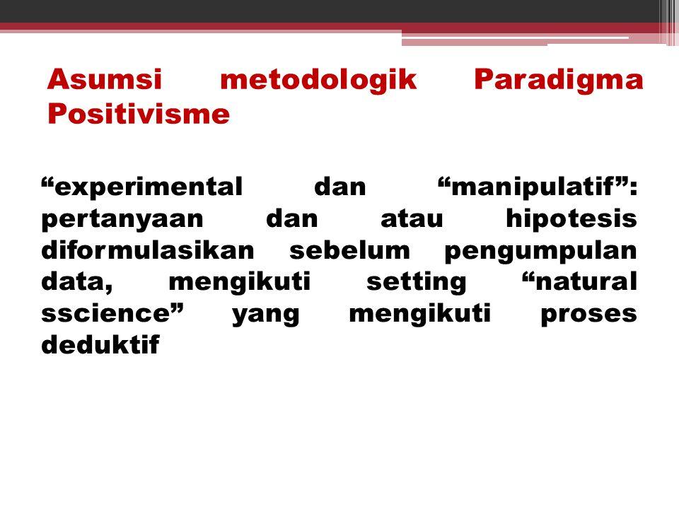 Asumsi metodologik Paradigma Positivisme