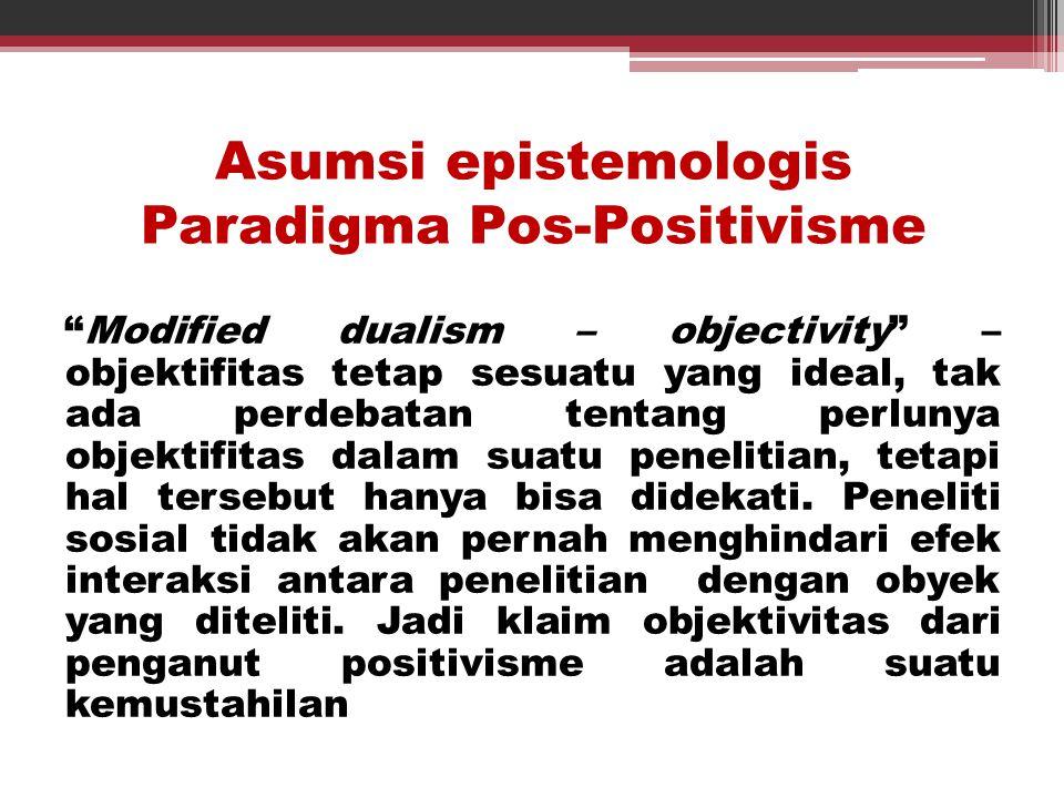 Asumsi epistemologis Paradigma Pos-Positivisme