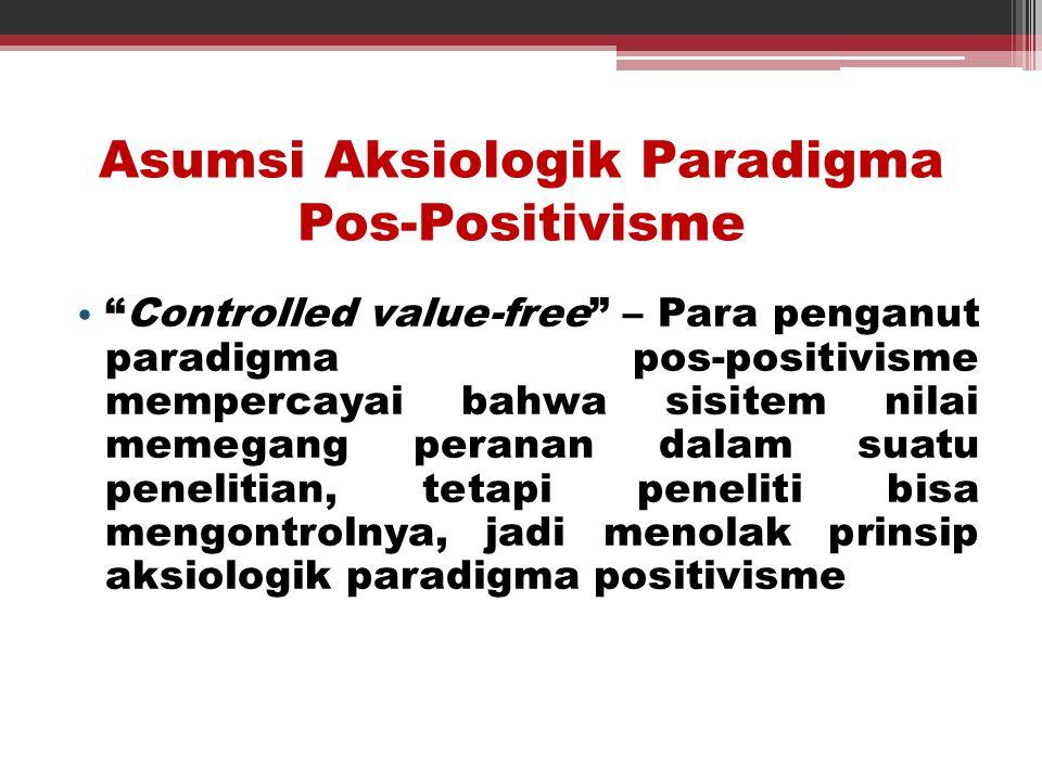 Asumsi Aksiologik Paradigma Pos-Positivisme