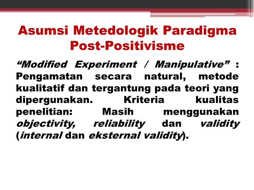 Asumsi Metedologik Paradigma Post-Positivisme
