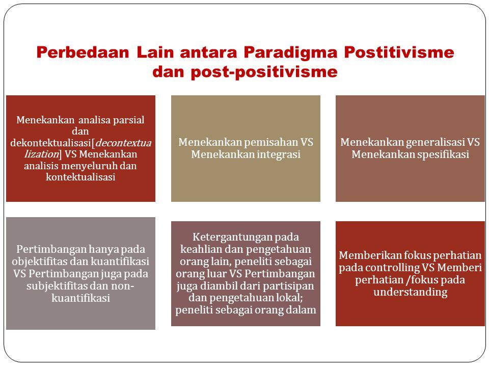 Perbedaan Lain antara Paradigma Postitivisme dan post-positivisme