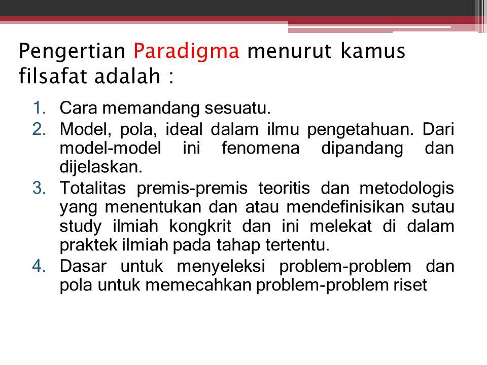 Pengertian Paradigma menurut kamus filsafat adalah :