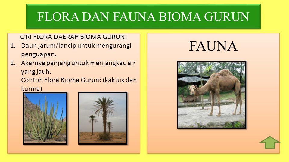 FAUNA FLORA DAN FAUNA BIOMA GURUN CIRI FLORA DAERAH BIOMA GURUN: