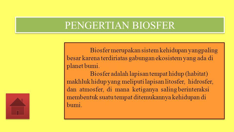PENGERTIAN BIOSFER Biosfer merupakan sistem kehidupan yangpaling besar karena terdiriatas gabungan ekosistem yang ada di planet bumi.