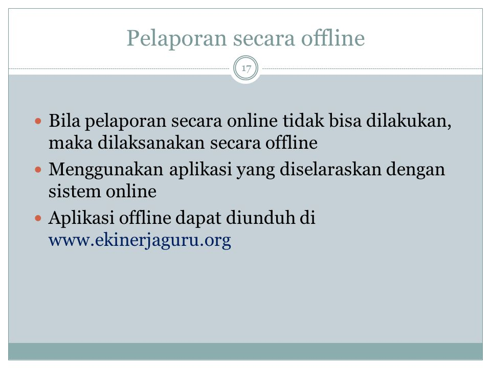 Pelaporan secara offline