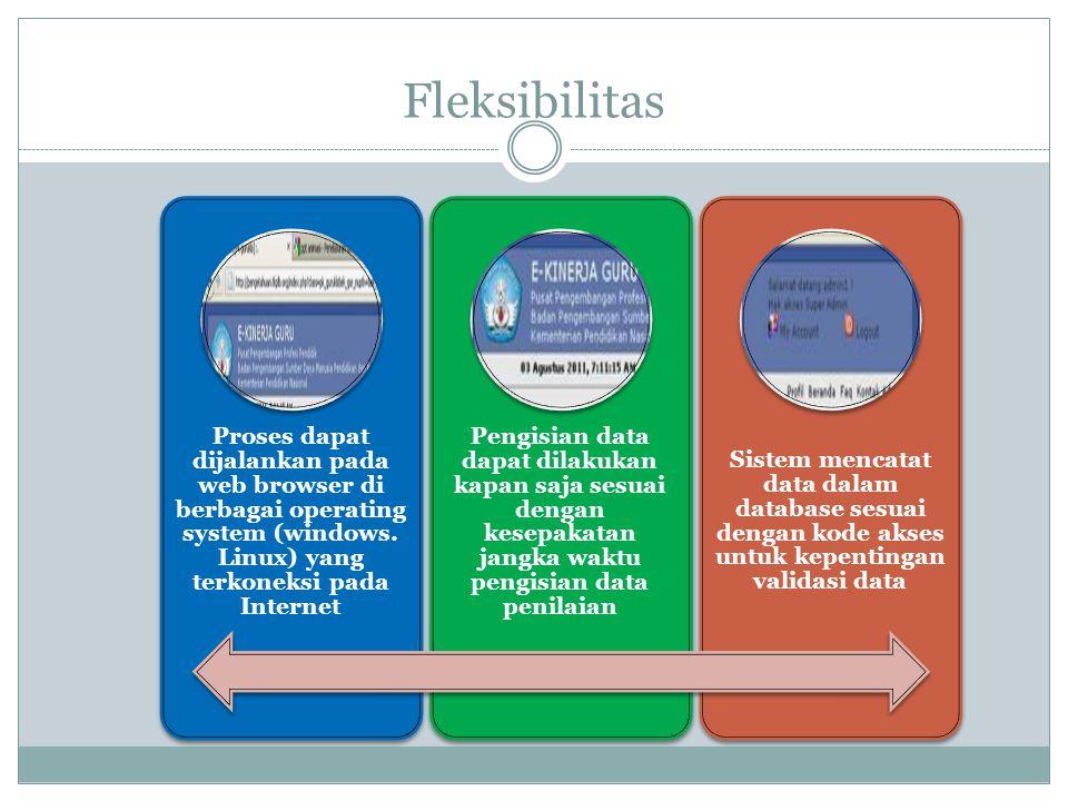 Fleksibilitas Proses dapat dijalankan pada web browser di berbagai operating system (windows. Linux) yang terkoneksi pada Internet.