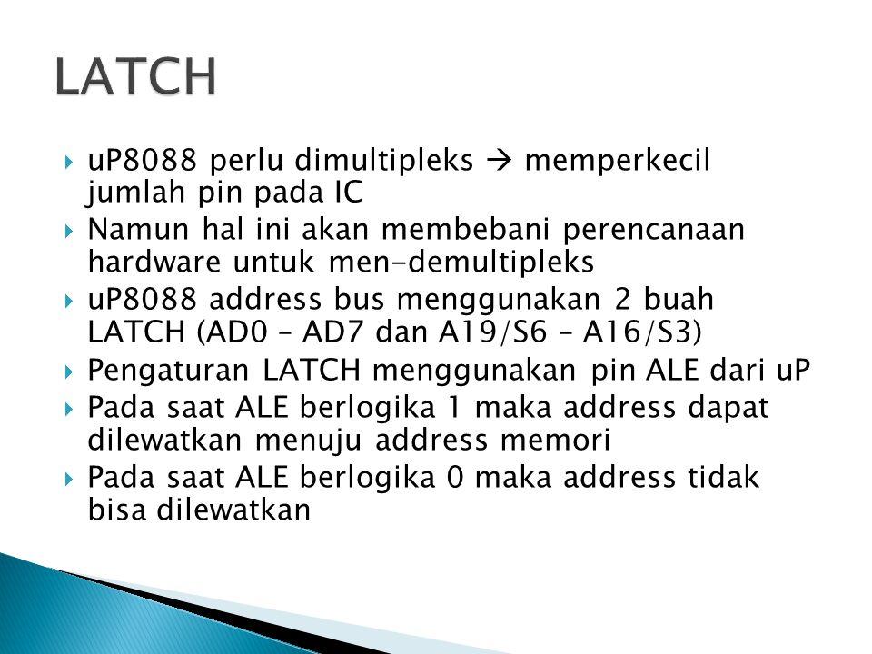 LATCH uP8088 perlu dimultipleks  memperkecil jumlah pin pada IC