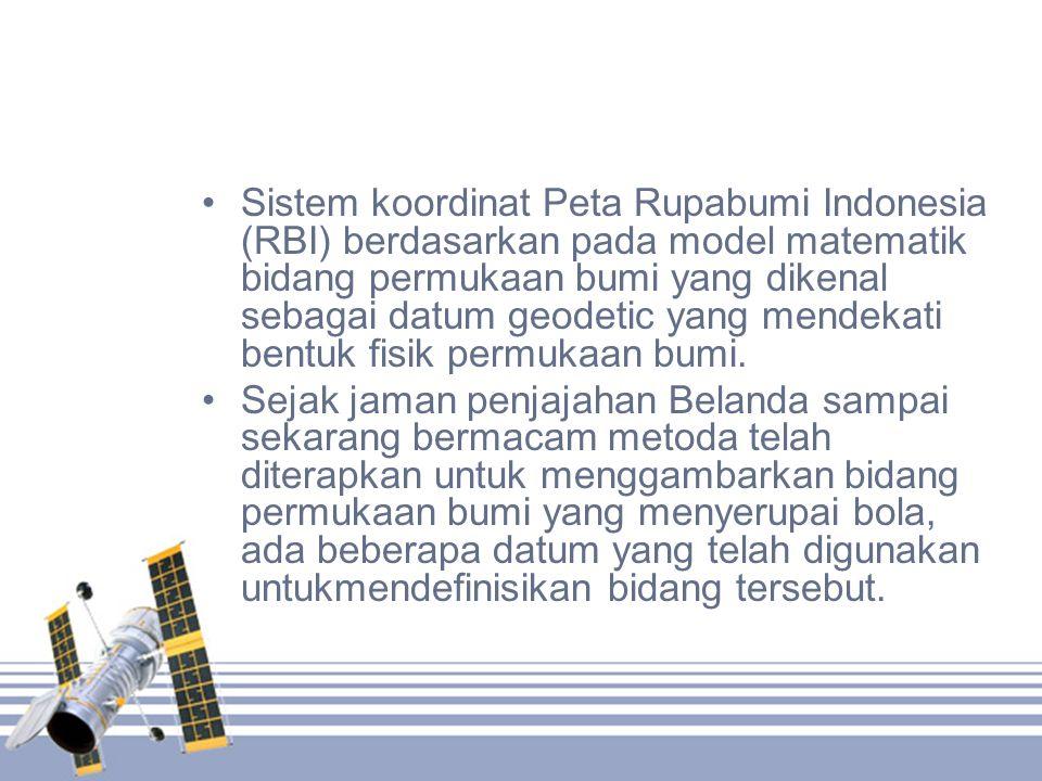 Sistem koordinat Peta Rupabumi Indonesia (RBI) berdasarkan pada model matematik bidang permukaan bumi yang dikenal sebagai datum geodetic yang mendekati bentuk fisik permukaan bumi.