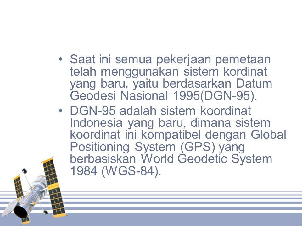 Saat ini semua pekerjaan pemetaan telah menggunakan sistem kordinat yang baru, yaitu berdasarkan Datum Geodesi Nasional 1995(DGN-95).