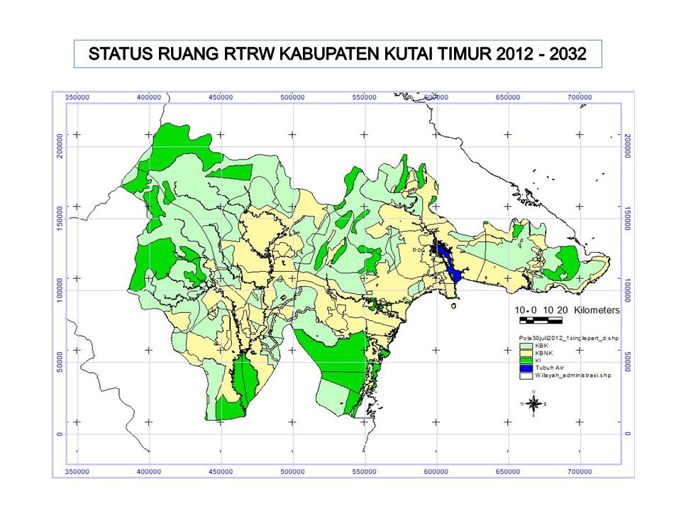 STATUS RUANG RTRW KABUPATEN KUTAI TIMUR 2012 - 2032