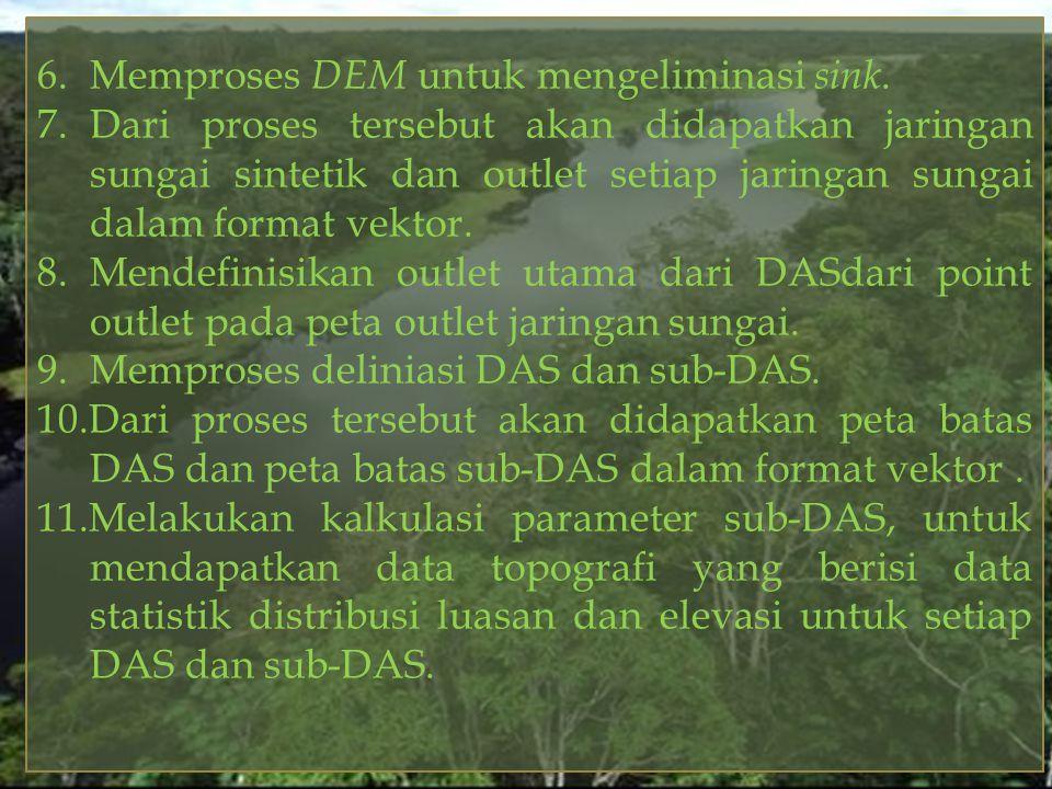 6. Memproses DEM untuk mengeliminasi sink.
