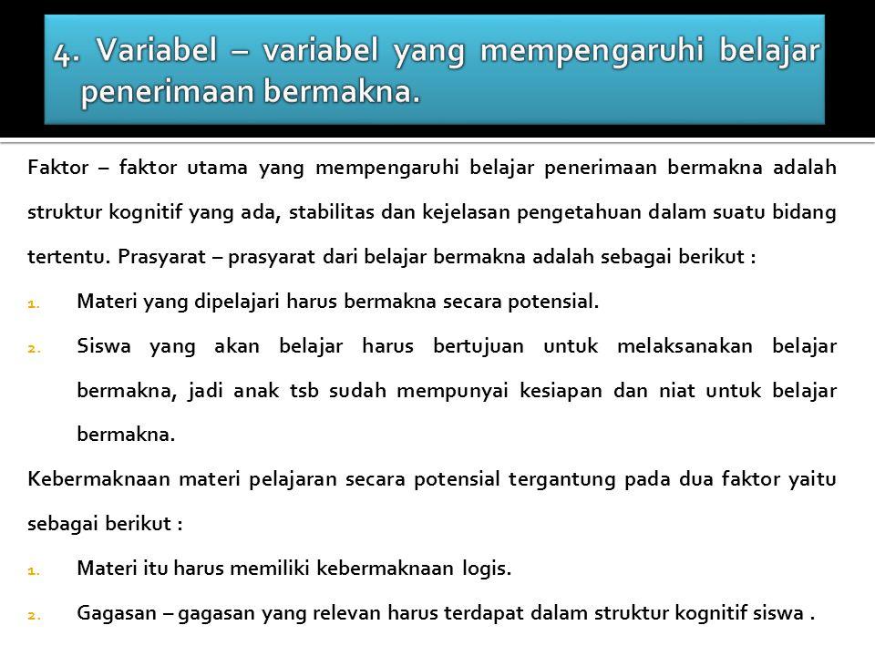 4. Variabel – variabel yang mempengaruhi belajar penerimaan bermakna.
