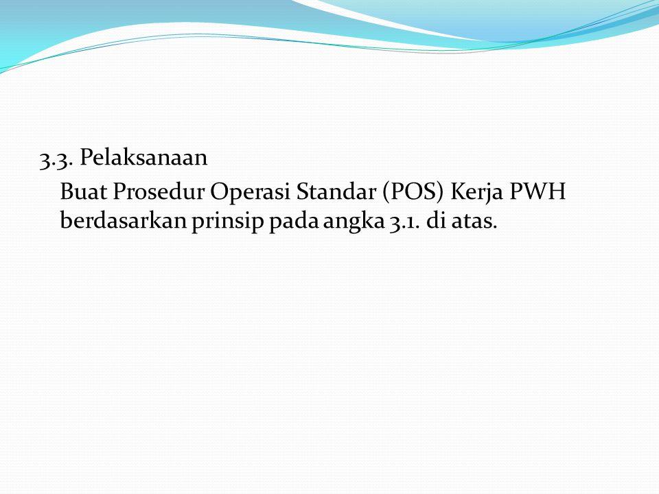 3.3. Pelaksanaan Buat Prosedur Operasi Standar (POS) Kerja PWH berdasarkan prinsip pada angka 3.1.