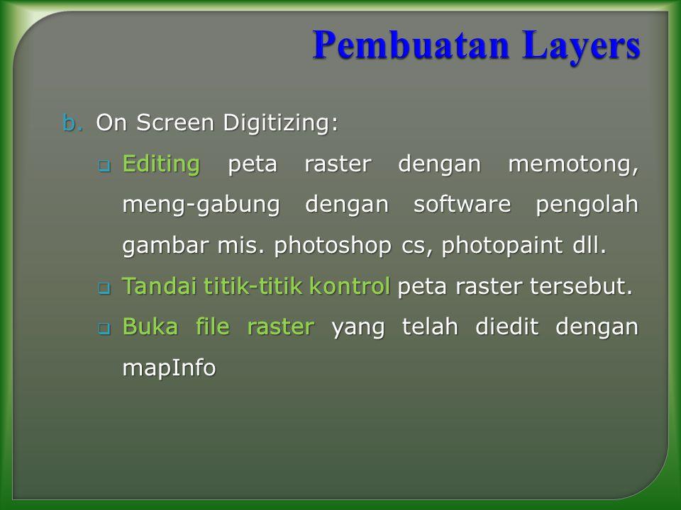 Pembuatan Layers On Screen Digitizing: