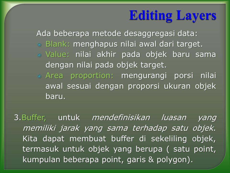 Editing Layers Ada beberapa metode desaggregasi data: