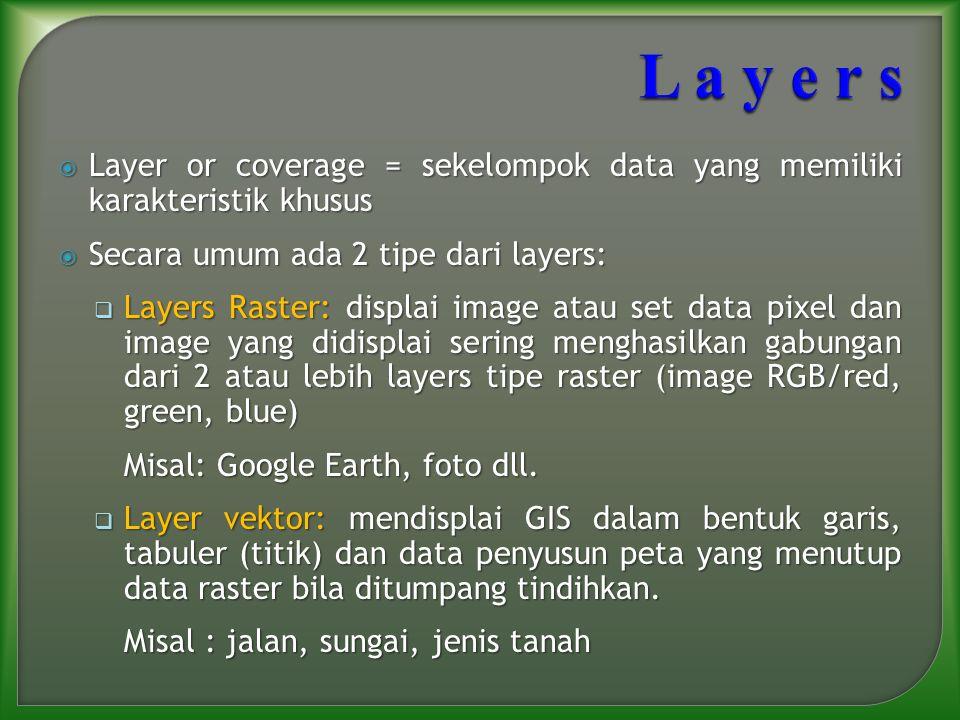 L a y e r s Layer or coverage = sekelompok data yang memiliki karakteristik khusus. Secara umum ada 2 tipe dari layers:
