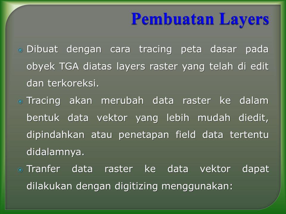 Pembuatan Layers Dibuat dengan cara tracing peta dasar pada obyek TGA diatas layers raster yang telah di edit dan terkoreksi.
