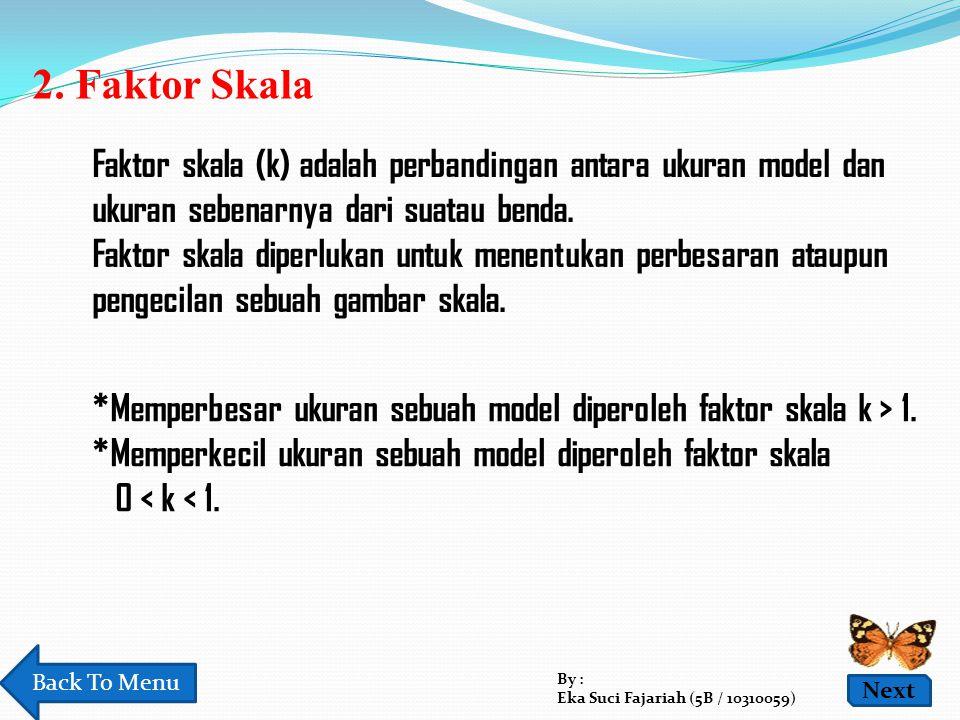 2. Faktor Skala Faktor skala (k) adalah perbandingan antara ukuran model dan ukuran sebenarnya dari suatau benda.