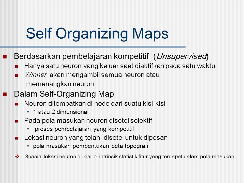 Self Organizing Maps Berdasarkan pembelajaran kompetitif (Unsupervised) Hanya satu neuron yang keluar saat diaktifkan pada satu waktu.