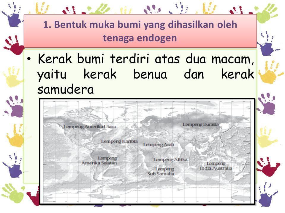 1. Bentuk muka bumi yang dihasilkan oleh tenaga endogen