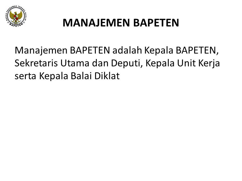 MANAJEMEN BAPETEN Manajemen BAPETEN adalah Kepala BAPETEN, Sekretaris Utama dan Deputi, Kepala Unit Kerja serta Kepala Balai Diklat.