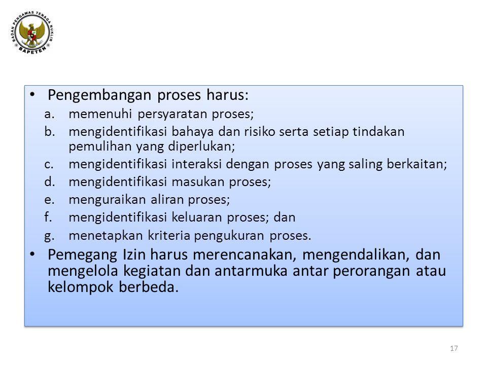 Pengembangan proses harus: