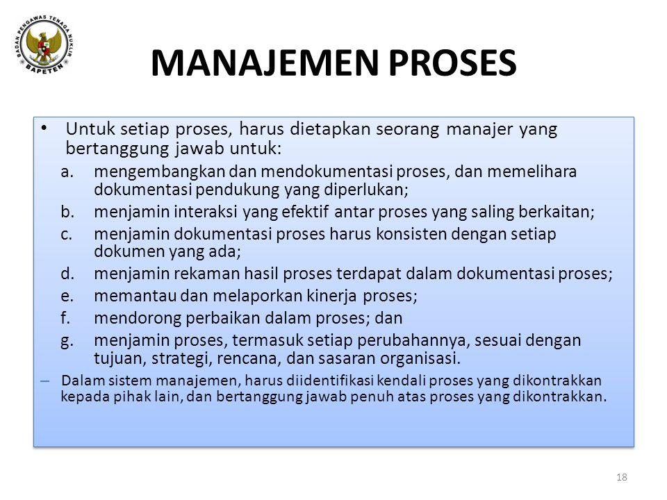 MANAJEMEN PROSES Untuk setiap proses, harus dietapkan seorang manajer yang bertanggung jawab untuk: