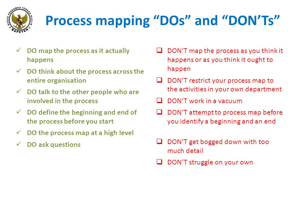 Process mapping DOs and DON'Ts